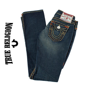 True Religion Billy Super T Jeans Tri-Color Stitch .  Size 24