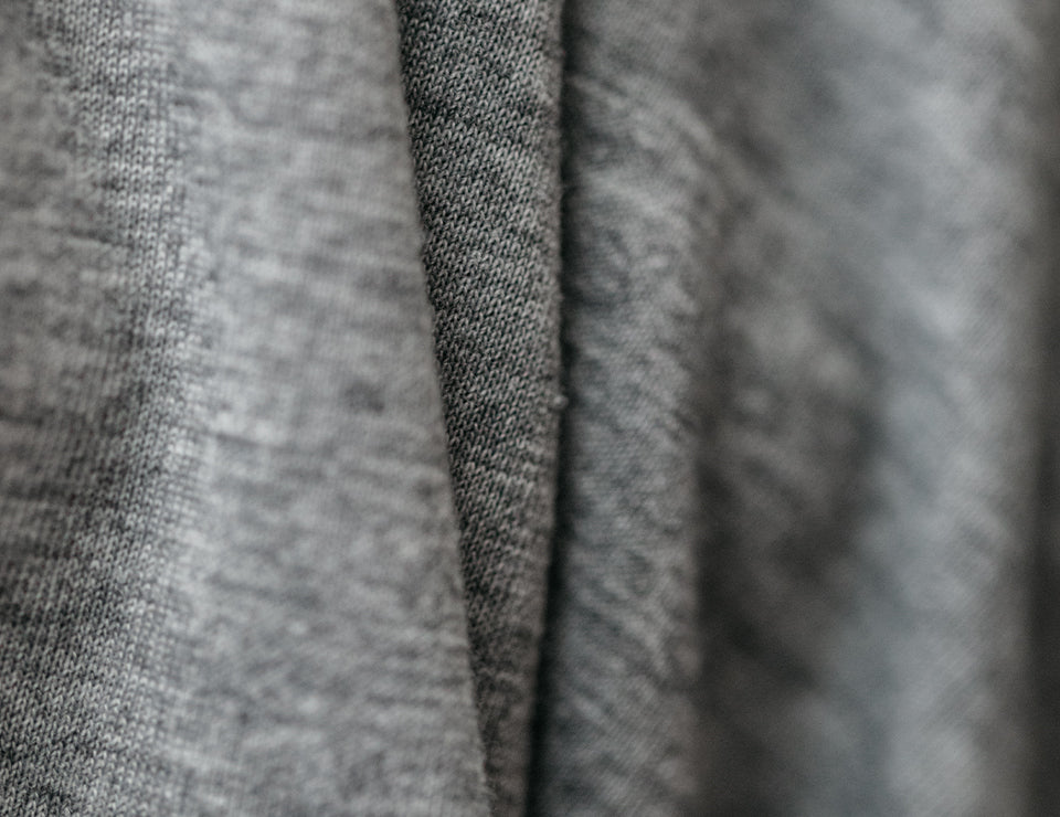 Close up of grey sweater.
