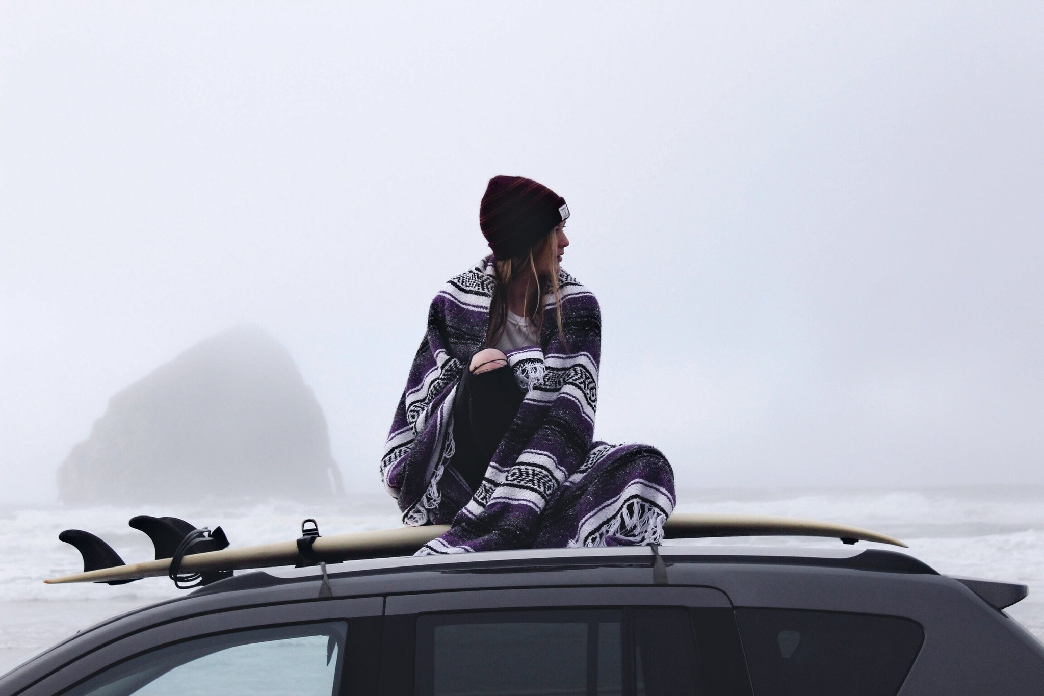 woman car foggy travel