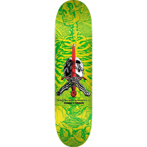 Powell Peralta Skull and Sword Skateboard Deck Yellow/Green 244 K20 8.5""