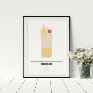 John Collins Cocktail Poster - Printers Mews