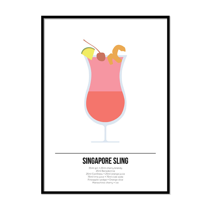 Singapore Sling Cocktail Print - Printers Mews