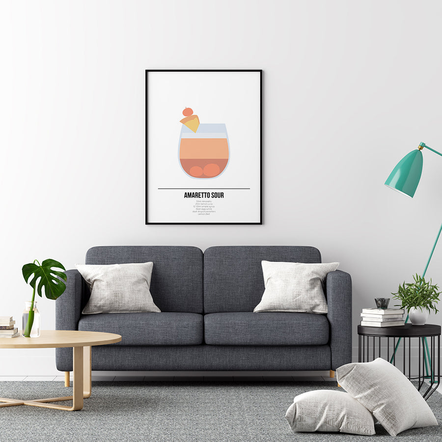 Amaretto Sour Cocktail Poster - Printers Mews