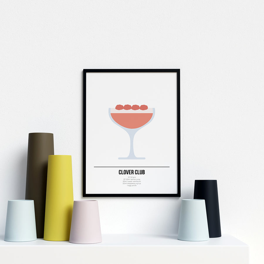 Clover Club Cocktail Poster - Printers Mews