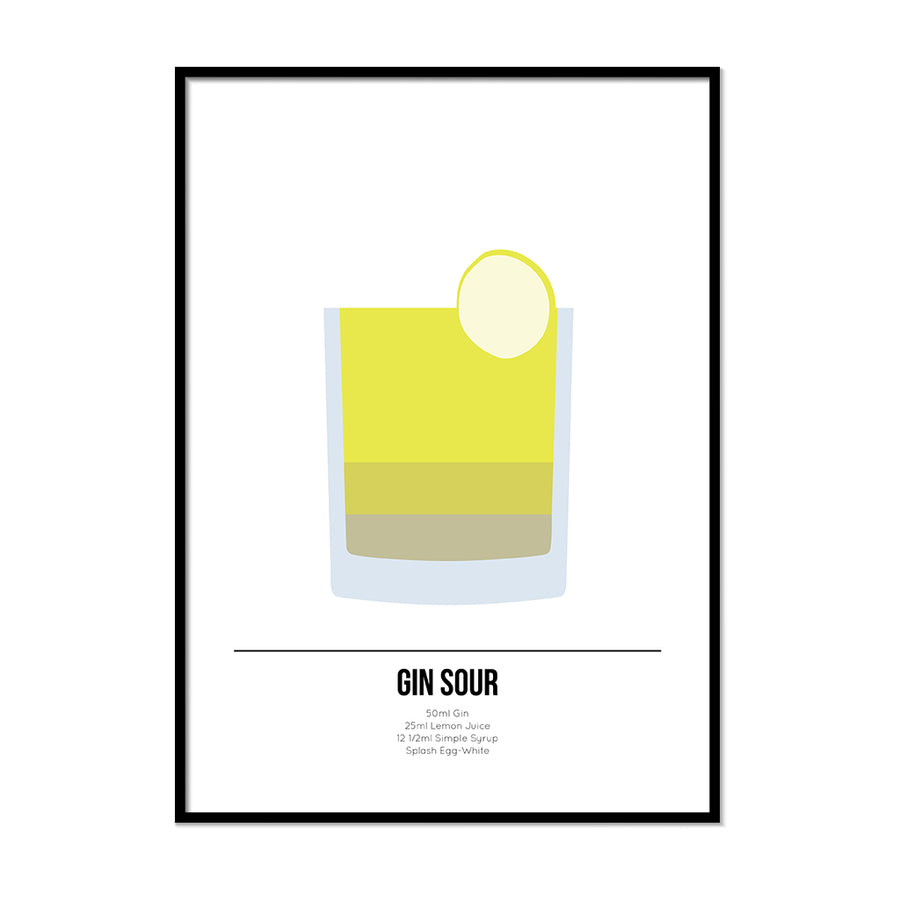 Gin Sour Cocktail Poster - Printers Mews