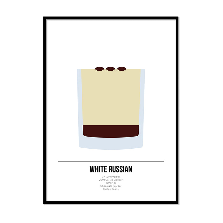 White Russian Cocktail Poster - Printers Mews