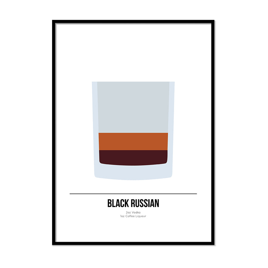 Black Russian Cocktail Poster - Printers Mews