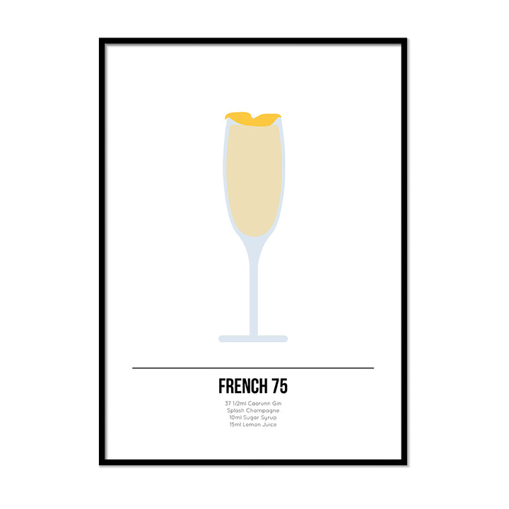 French 75 Cocktail Poster - Printers Mews