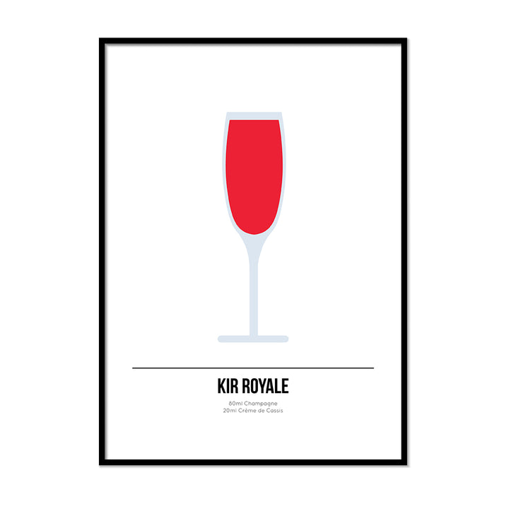 Kir Royale Cocktail Poster - Printers Mews