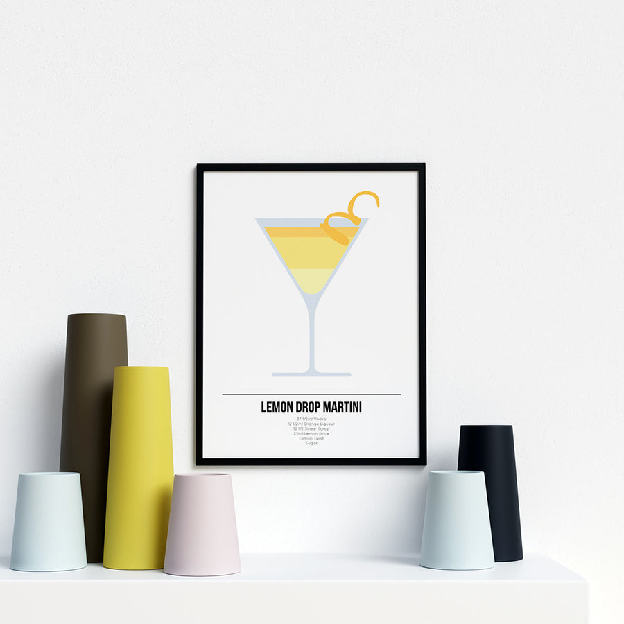 Lemon Drop Martini Cocktail Print - Printers Mews