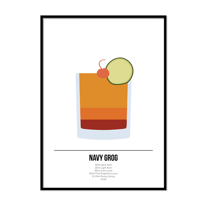 Navy Grog Cocktail Poster - Printers Mews