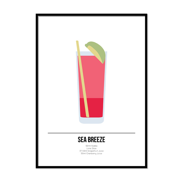 Sea Breeze Cocktail Poster - Printers Mews