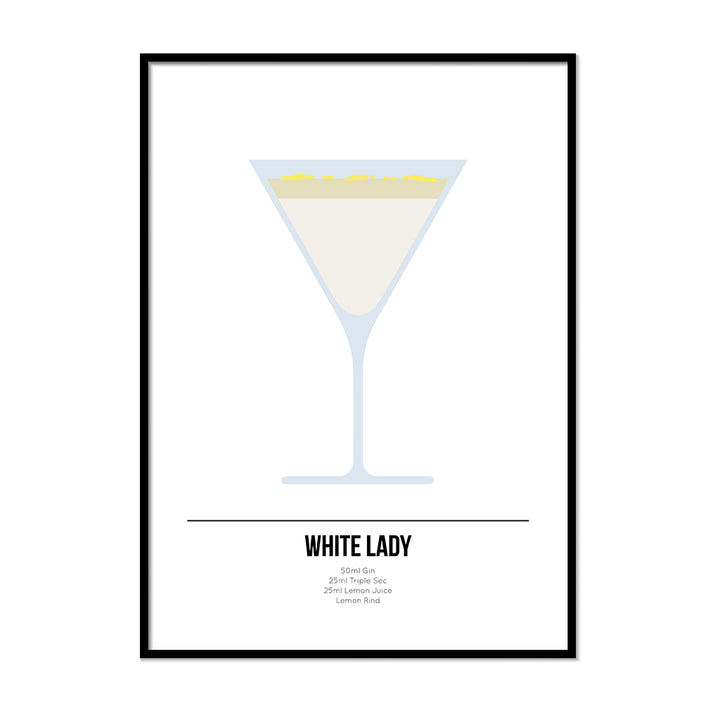 White Lady Cocktail Poster - Printers Mews