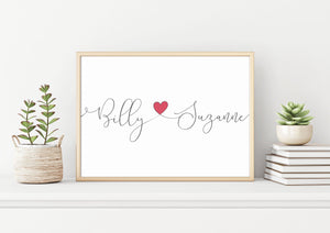 Wedding print couples name wall art gift
