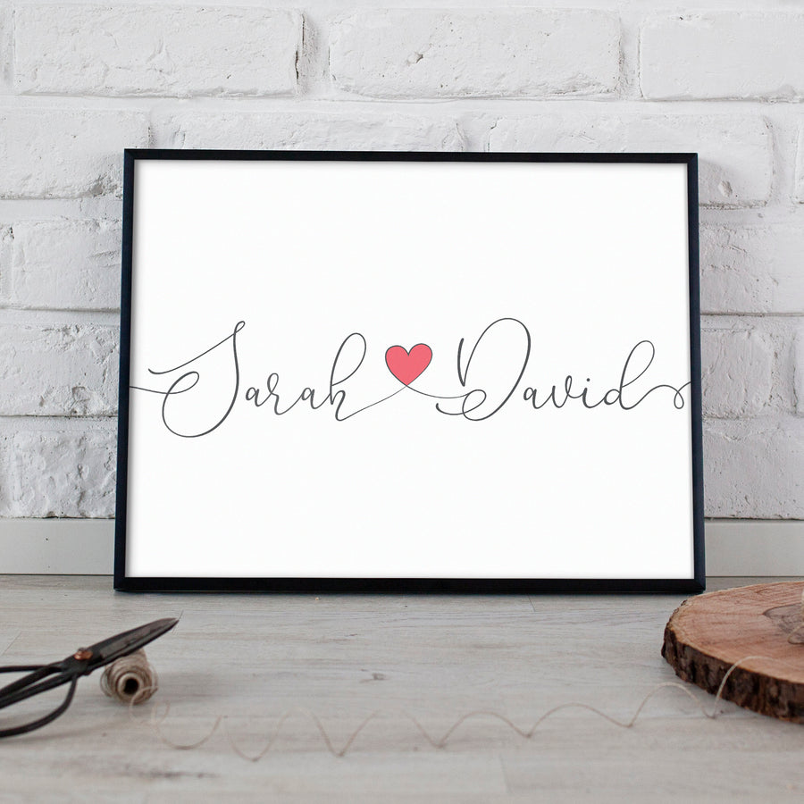 Wedding anniversary gift couples name design print