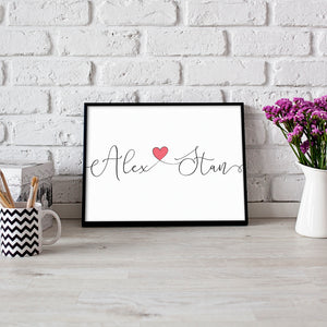 Couples name print personalised script writing wall art