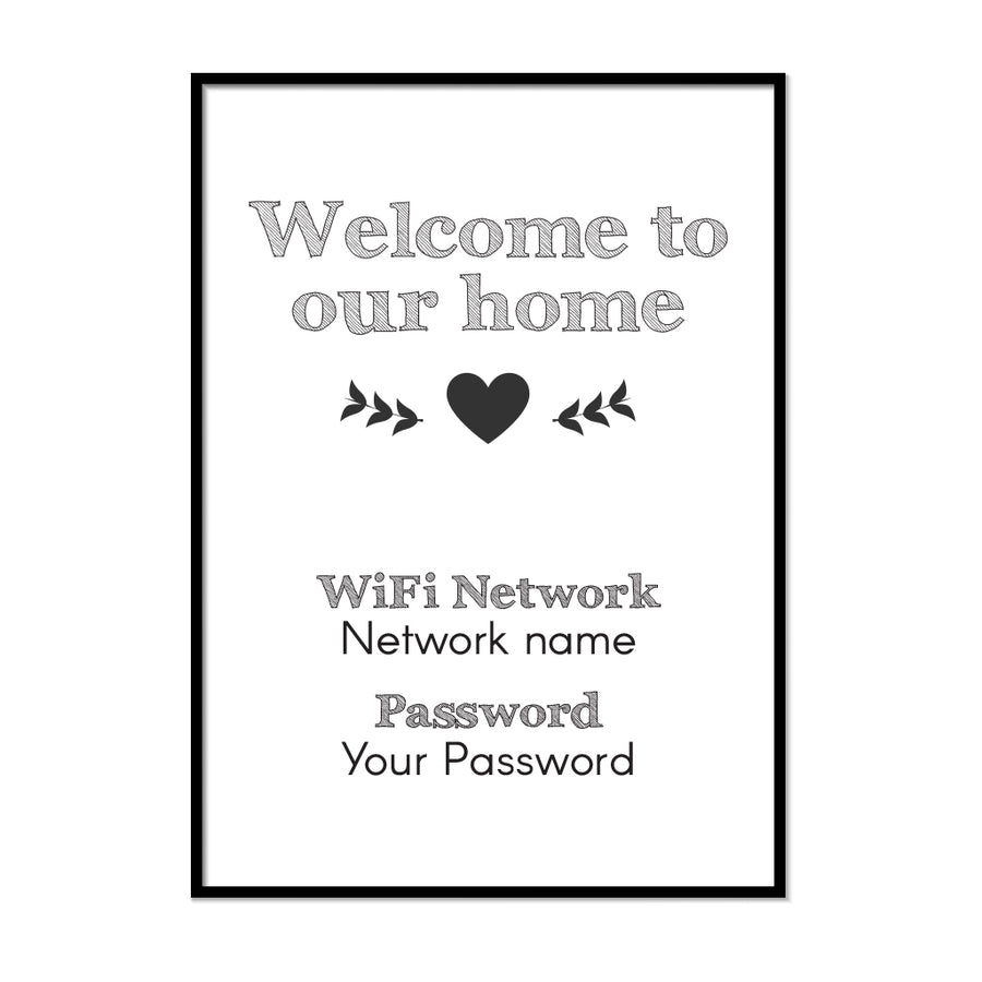 Custom WiFi Network and Password Sign