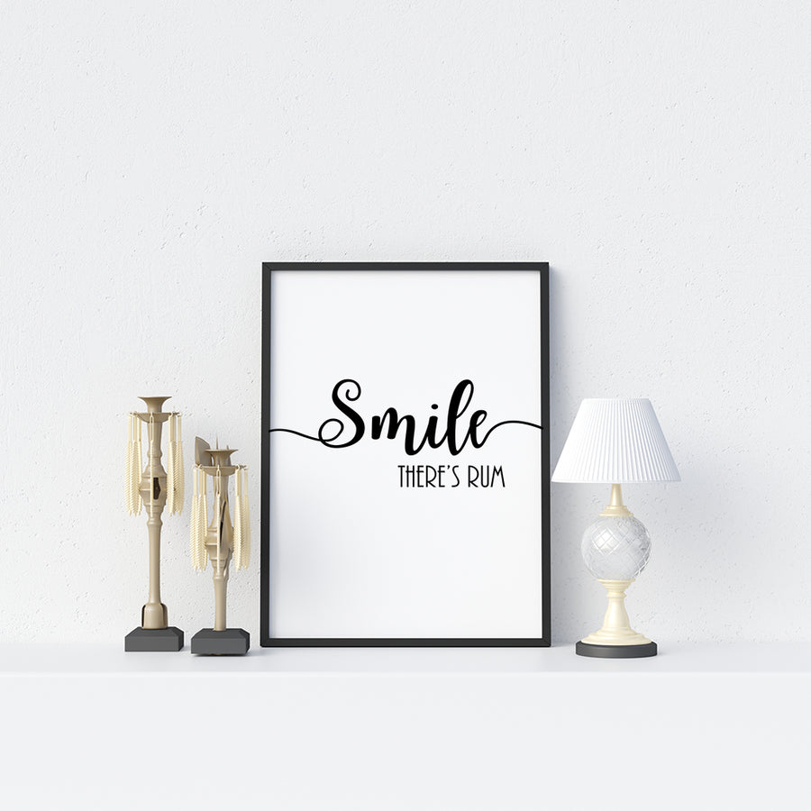 Smile There's Rum Poster - Printers Mews