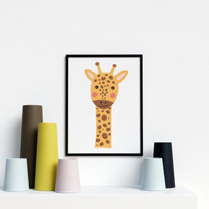 Giraffe animal canvas prints for nursery