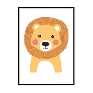 woodland animal nursery prints Lion