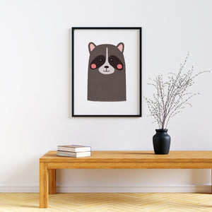 Baby Animal framed prints Raccoon