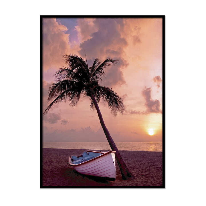 Palm Tree Boat Sunset - Printers Mews
