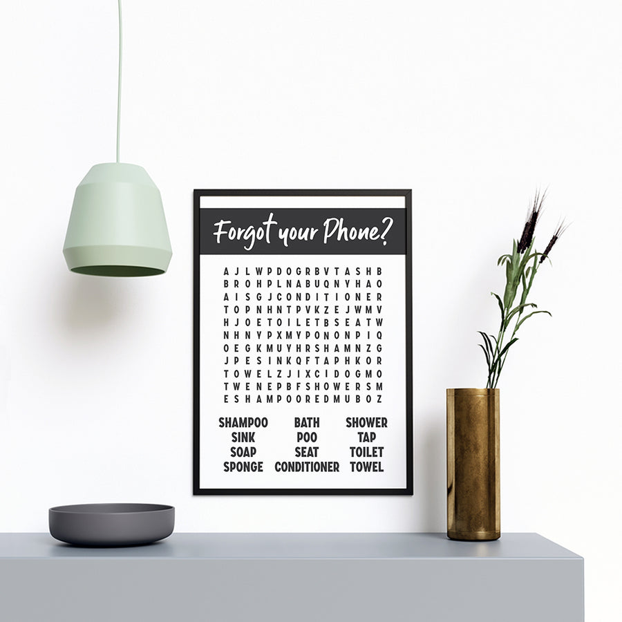 Forget Your Phone (Game) Kids Bathroom Prints Modern Stylish Artwork