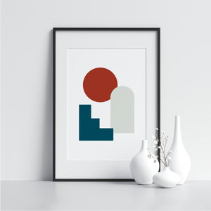 White and Blue Shapes With Red Circle - Printers Mews