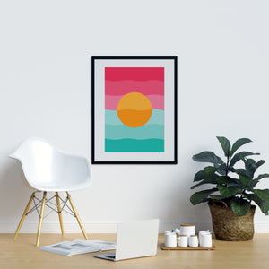 Yellow Circle With Blue and Pink Background - Printers Mews
