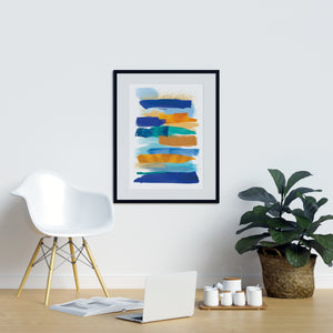Blue and Yellow Watercolor Strokes - Printers Mews