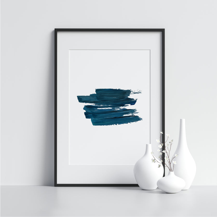 Dark Blue Watercolor Strokes - Printers Mews