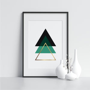 Green Black and Gold Triangles - Printers Mews
