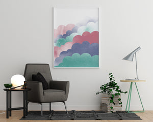 Blue and Pink Clouds With Sun - Printers Mews