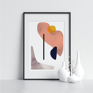 Pink Irregular Shapes With Black Line - Printers Mews