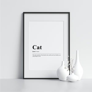 cat Funny Definition Poster