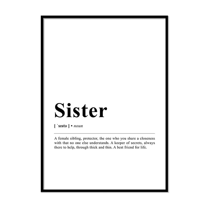 Sister Definition Wall Print