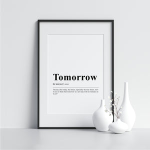 Tomorrow Funny Definition Poster