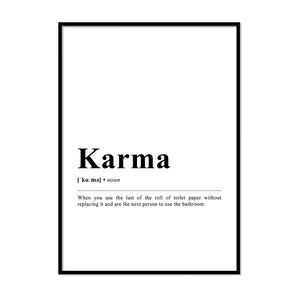 Karma Definition Wall Print