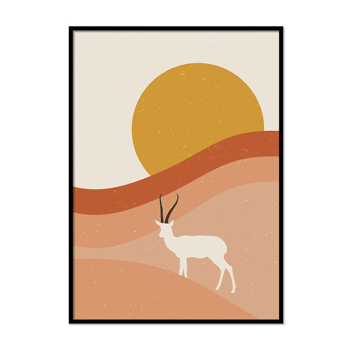 Burnt Orange Sunset Goat Poster | Printers Mews
