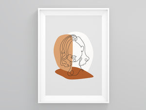 Single Lines Portrait  Terracotta Print | Printers Mews