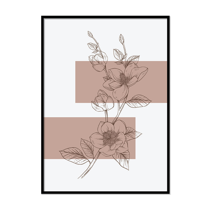 Anemone Outline Neutral Colors Wall Art | Printers Mews