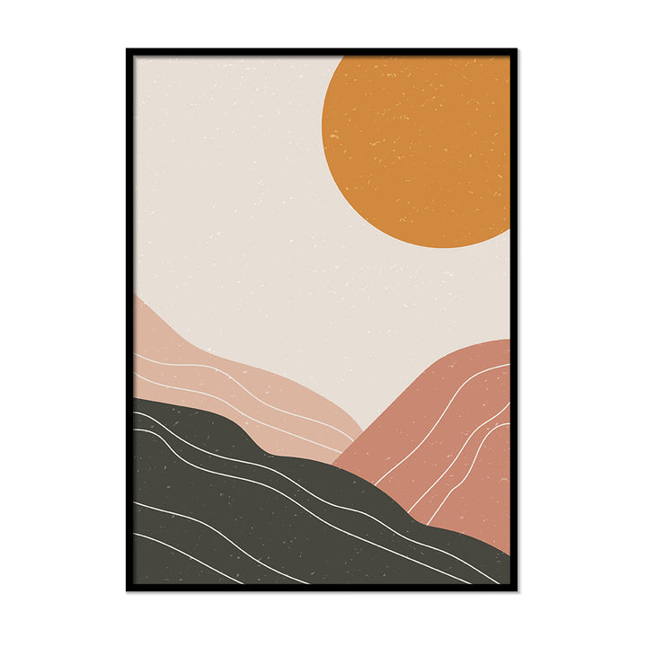 Minimalistic Terracotta Sunset Grey burnt orange art | Printers Mews