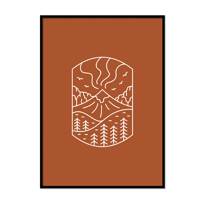 Mountain Terracotta Burnt Orange Poster | Printers Mews