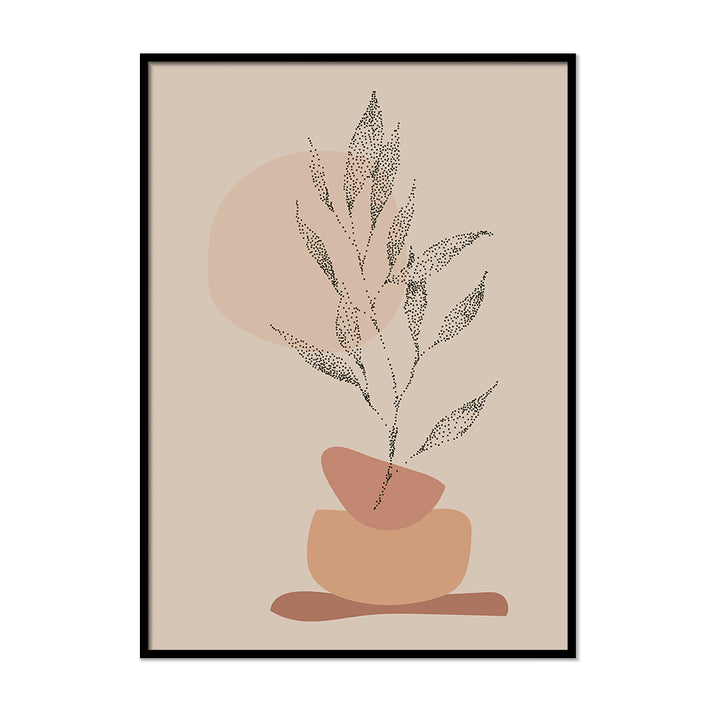 Dotted Plant Beige Neutral Colors Wall Art | Printers Mews