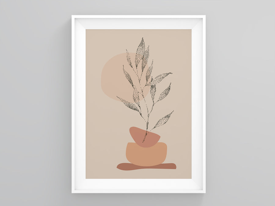 Dotted Plant Beige Terracotta Abstract | Printers Mews