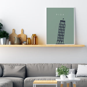Leaning Tower Of Pisa Minimalistic Travel Poster - Printers Mews