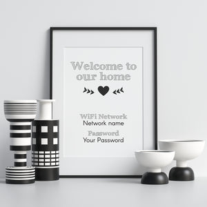 custom wifi print personalised network and password wall art