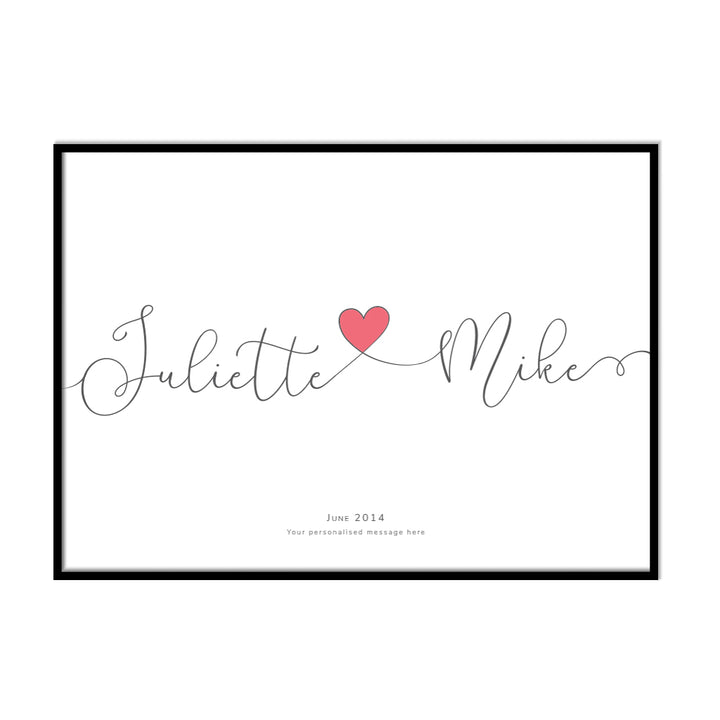 Personalised Couples Love Heart Name Print - Printers Mews