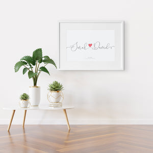 Couples Love Heart Name Print