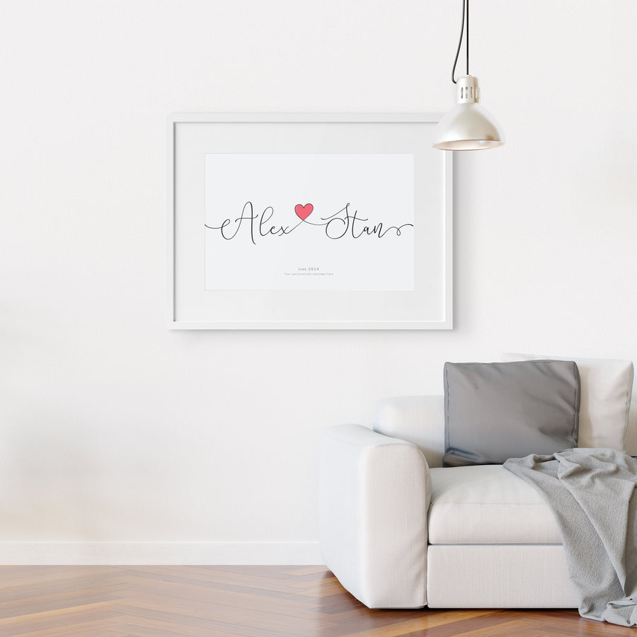 Personalised Engagement Gift Couples Love Heart Name Print